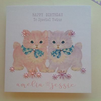 PERSONALISED Handmade BIRTHDAY Card TWIN GIRLS 1st 2nd 3rd 4th Grand Daughter