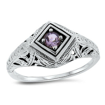 #299 REAL AMETHYST ART DECO .925 STERLING SILVER SOLITAIRE RING SIZE 7.75