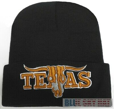Texas Longhorns Long Horns Skull Bull Knit Winter Beanie Warm Watch Cap Ski Hat
