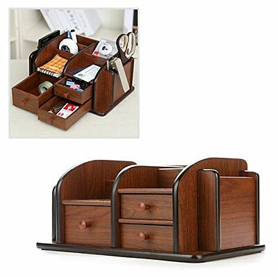 MyGift Classic Brown Wood Office Supplies Desk Organizer Rack with 3 Drawers, 3