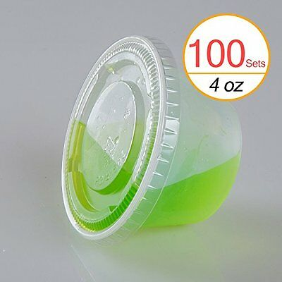 TashiBox 4 oz Plastic Cups / Disposable Portion Cups / Souffle Cups with Lids,