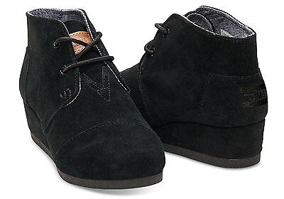 Toms Youth Desert Wedges Black Suede Girl's Booties
