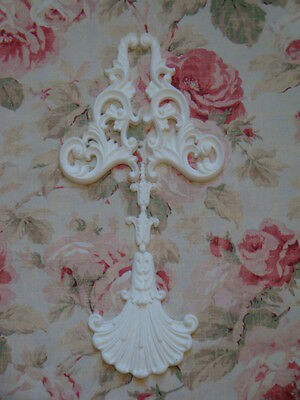 NEW! Shabby Chic Large Scroll with Shell Drop Center Furniture Applique Onlay