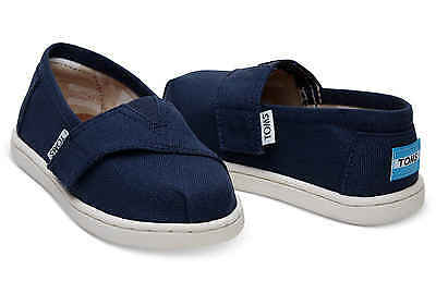Toms Classics Navy Canvas Tiny Little Kids Boys Casual Shoes