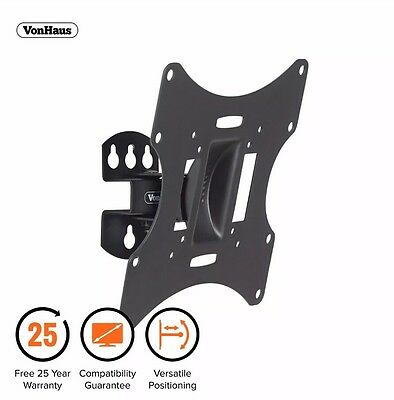 "19-42"" Tilt & Swivel TV Wall Mount Bracket 30kg Weight Capacity Strong Unit Uk"