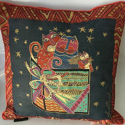 Laurel Burch Decor Pillow 18 Inch Surprise Box Cats Feline Tapestry Throw