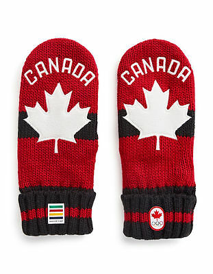 PyeongChang 2018 HBC TEAM CANADA Winter Olympic Red Mittens Adult L/XL