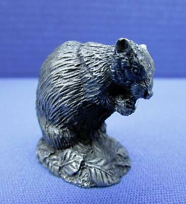 """Franklin Mint """"The Beaver"""" Pewter Figurine by Jane Lunger - 1981"""