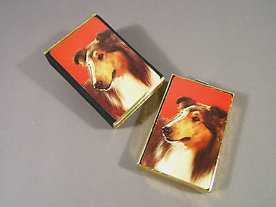 Deck Collie Dog Playing Cards VTG 70's Congress Complete Mahogany Sable Lassie