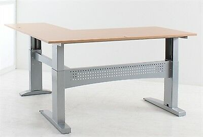 Conset 501-11 Sit Stand L-Shaped Electric Corner Desk - Heavy Duty