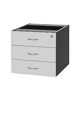 Oxley Fixed Pedestal - 3 Desk Drawers White & Ironstone