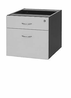 Oxley Fixed Pedestal - 2 Drawers White & Ironstone