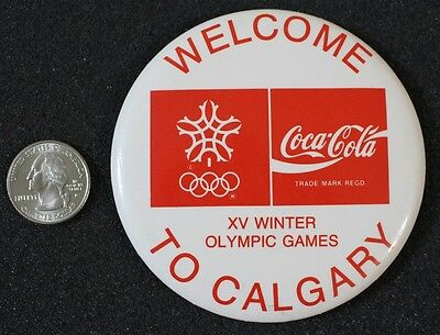 1988 Welcome To Calgary Olympic Games Coca Cola Coke 3.5 Inch Pin Pinback Button