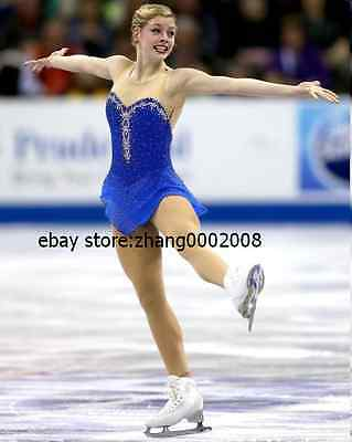 Stylish Ice Skating Dress.Sparkle Blue Competition Twirling Figure Skating Dress