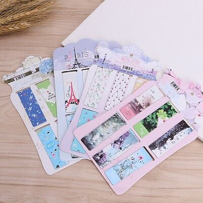Flower Magnetic Paper Bookmarks Note Memo Stationery Book Mark Bookworm 6Pcs/lot