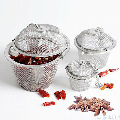 3 Size Stainless Steel Infuser Strainer Mesh Tea Filter Spoon Locking Spice Ball