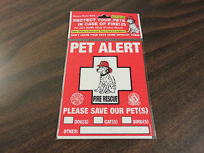 PET ALERT Fire Rescue Static Cling Window Decals 2-Count Package FREE SHIP