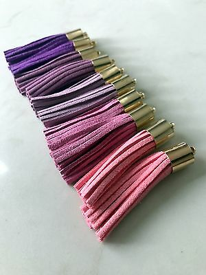 10 x Pink & Purple Coloured Leather Tassel 50mm 5cm Long