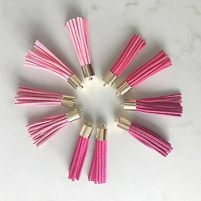 10 x Pink Coloured Leather Tassel 50mm 5cm Long