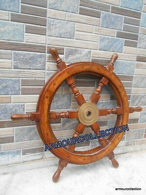 Wood / Brass Ships Wheel ~ 24'' Nautical Maritime ~ Wooden Pirate Captain decor""