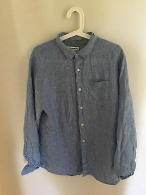 Mens Country Road Blue 100% Linen  Long Sleeved Shirt   Size M