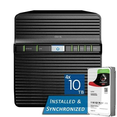Synology DiskStation DS418j 4 Bays NAS + 40TB 4x Seagate 10TB ST10000VN0004