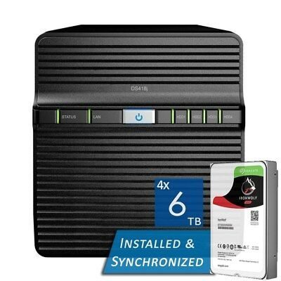 Synology DiskStation DS418j 4 Bays NAS + 24TB 4x Seagate 6TB ST6000VN0033