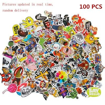 100 random vinyl decal graffiti sticker bomb laptop waterproof stickers skate AU
