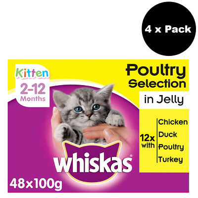 Whiskas 2-12 Months Kitten Food Pouches Poultry Selection in Jelly 48 x 100g
