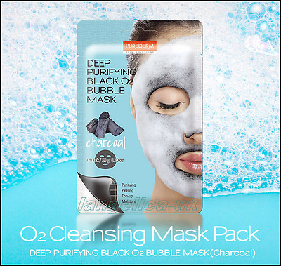 Purederm (Charcoal) - Deep Purifying Black O2 Bubble Mask