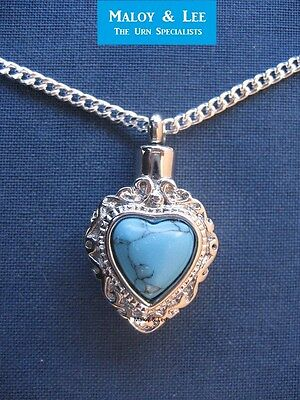 Silver Turquoise Heart Cremation Keepsake Pendant Jewellery Necklace Urn
