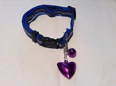Cat/Kitten soft glossy Blue reflective collar, safety buckle, bell & Heart Bell.
