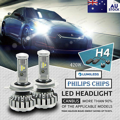 420W 48000LM H4 9003 HB2 LED Headlight Kit Car Driving Globes Light Bulbs 6500K