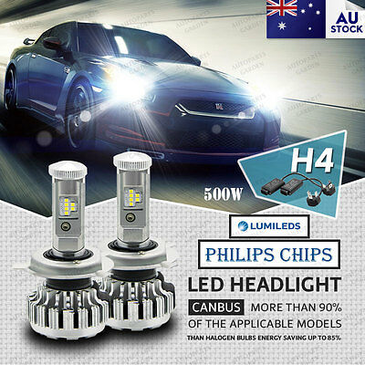 2x H4 LED Lamp 500W 58000LM Headlight kit Bulb Globes Hi-Lo Beam Upgrade