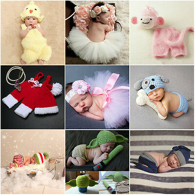 2pcs Newborn Children Baby Crochet Knit Props Clothes Outfits +Cute Animal Shape