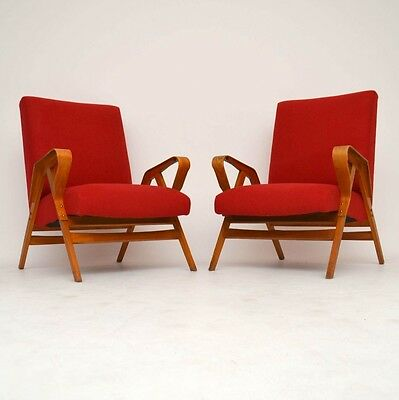 PAIR OF RETRO ARMCHAIRS BY TATRA NABYTOK VINTAGE 1950's
