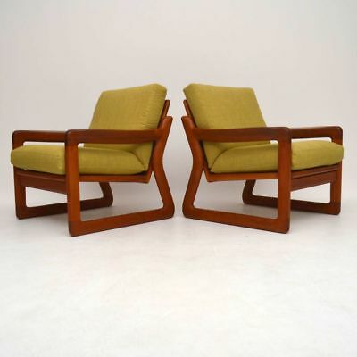PAIR OF DANISH SOLID TEAK RETRO ARMCHAIRS VINTAGE 1970's