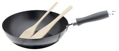 Judge 3 Piece 25cm Induction Wok Set with Wooden Utensils Non-Stick Stir Fry Pan