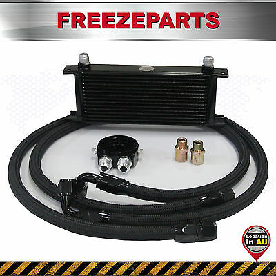 15 Row AN-10AN Universal Engine Transmission Oil Cooler + Filter Relocation Kits