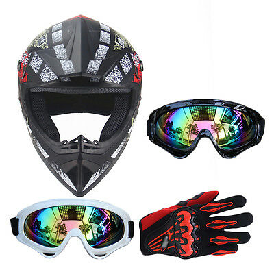 DOT Motocross Helmet+Goggles+Gloves Off-Road Racing Motorcycle ATV Dirt Bike VST