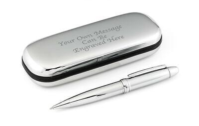 Personalised Luxury Silver Pen and Chrome Case - Engraved