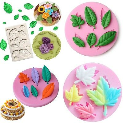 3D Leaves Silicone Mold Fondant Chocolate Cake Decorating Baking Silikonform