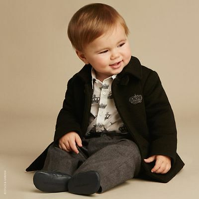 Dolce & Gabbana Baby Boys Black Wool Coat 18-24 Months