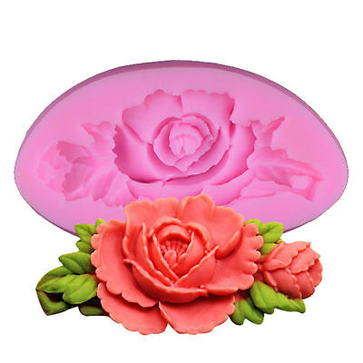3D Rose Flower Silicone Mould Fondant Candy Cake Chocolate Decor Silikonform