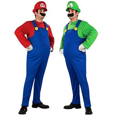 Adults Mens Super Mario Luigi Bros Plumber Brothers Fancy Dress Outfit Costume