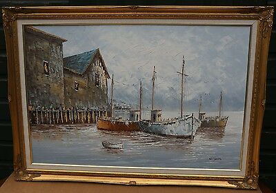 Lovely Very Large Gilt Framed Painting On Canvas Of Boats Etc By W Jones