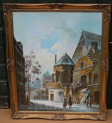 Large Gilt Framed Painting On Board Of A Street Type Scene By K Rothman