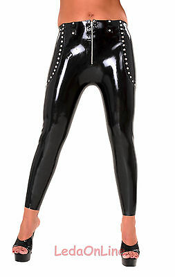 Anita Berg AB4628 Latex Hose Rubber Leggings mit Nieten Zipper Gr. XXXL Schwarz