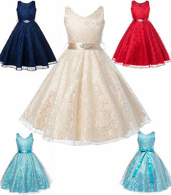 Kids Girls Flower Princess Lace Occasion Wedding Party Pageant Communion Dress