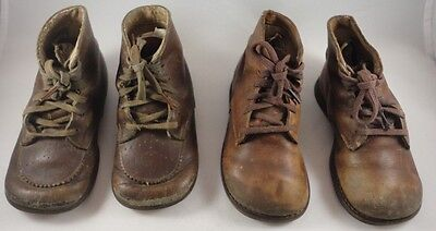 2 Pairs Of Vintage Fut-Fitter Leather Orthopedic Health Youth Shoes